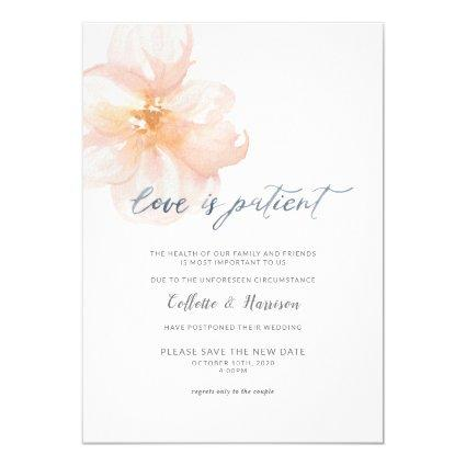 Love is Patient Change the Date Flower Invitation