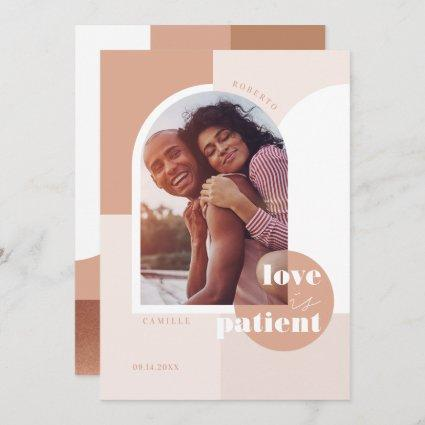 Love is Patient Geometric Blush Couple's Photo Save The Date