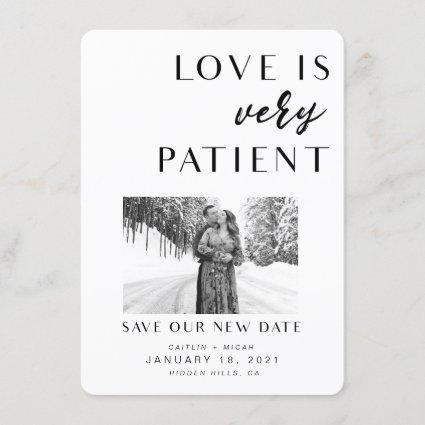 Love is Patient new date card