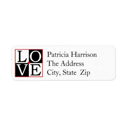 LOVE Wedding Return Address Label