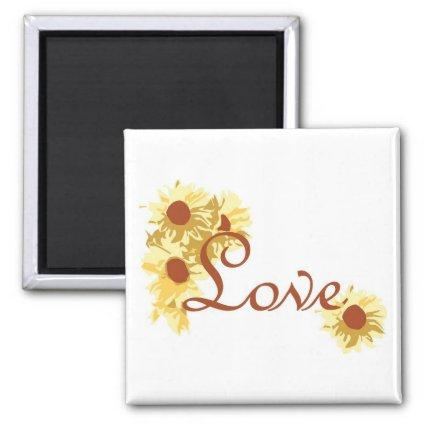 Love with Sunflowers Magnets