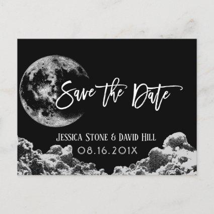 Love You To the Moon & Back Black Save the Date Announcement