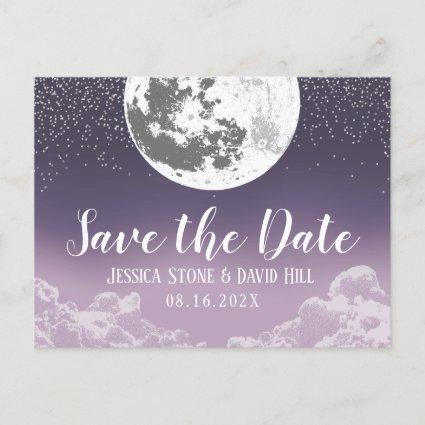 Love You To the Moon & Back Purple Wedding Announcement