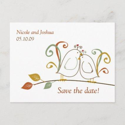 Lovebirds on Branches Save the Date Announcement
