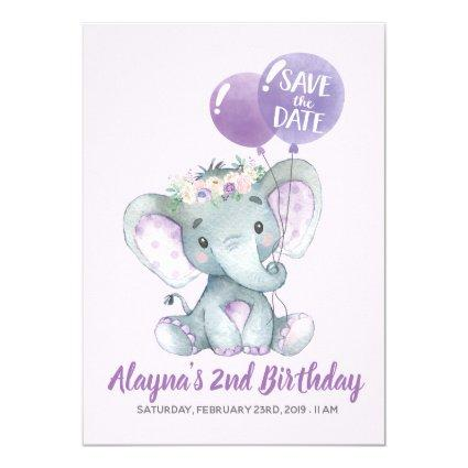 Lovely Lavender Elephant with Purple Balloons Invitation