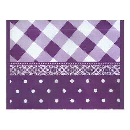 Lovely Purple checkered Damask Seamless Pattern Cards