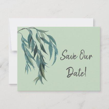 Lovely Sage Green Willow Branch Botanical Wedding Save The Date