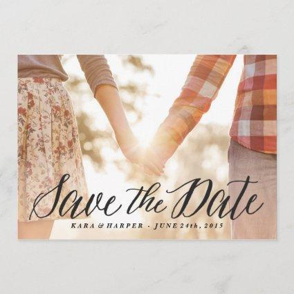 Lovely Script photo save the date card