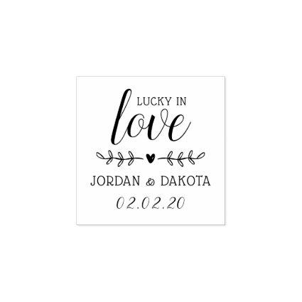 Lucky In Love | Custom Names & Date Wedding Wooden Rubber Stamp