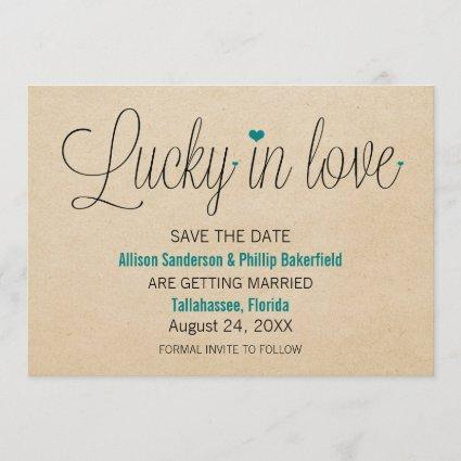 Lucky in Love Save the Date, Teal Save The Date