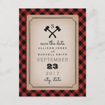 Lumberjack Plaid Monogram Ax Save The Date Announcements