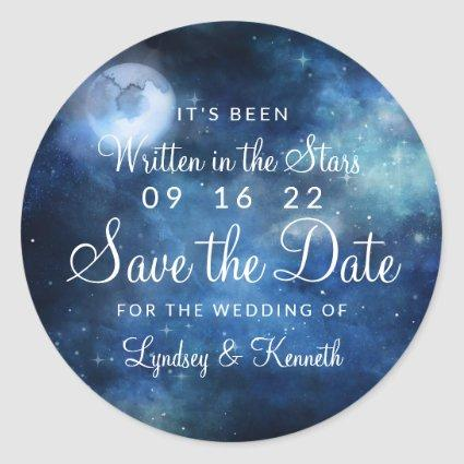 Lunar Sky Full Moon Celestial Galaxy Save the Date Classic Round Sticker