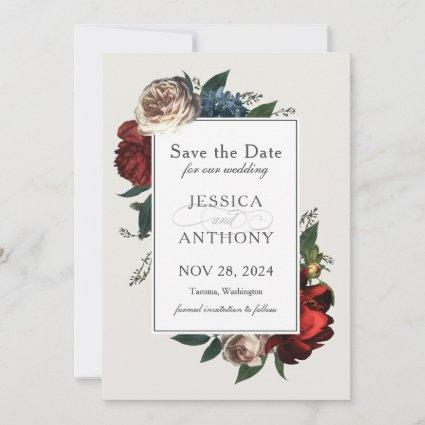 Luxe Floral Save the Date with Your Photo
