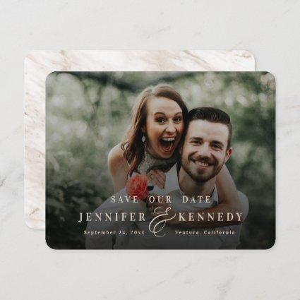 Luxurious Ampersand Beige Tan Marble & Full Photo Save The Date