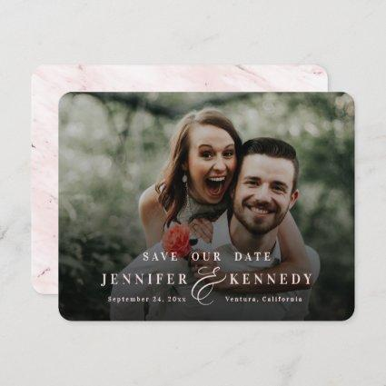 Luxurious Ampersand Blush Pink Marble & Full Photo Save The Date