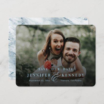 Luxurious Ampersand Dusty Blue Marble & Full Photo Save The Date