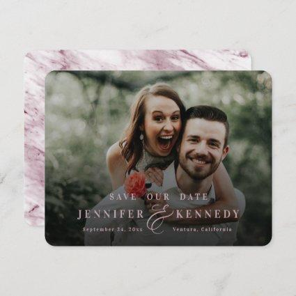 Luxurious Ampersand Dusty Pink Marble & Full Photo Save The Date