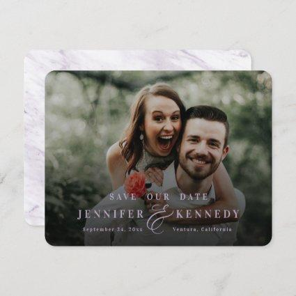 Luxurious Ampersand Lavender Marble & Full Photo Save The Date