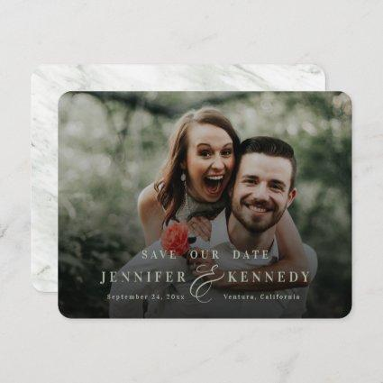 Luxurious Ampersand Sage Green Marble & Full Photo Save The Date