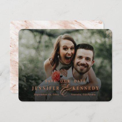 Luxurious Ampersand Terracotta Marble & Full Photo Save The Date