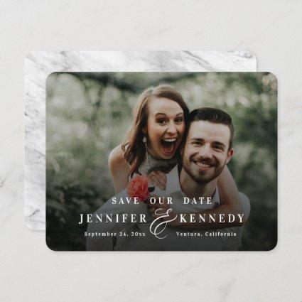 Luxurious Ampersand White Marble & Full Photo Save The Date