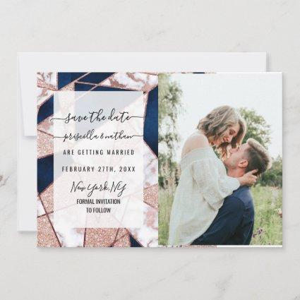 Luxurious Rose Gold Glitter Geometric Marble Save The Date