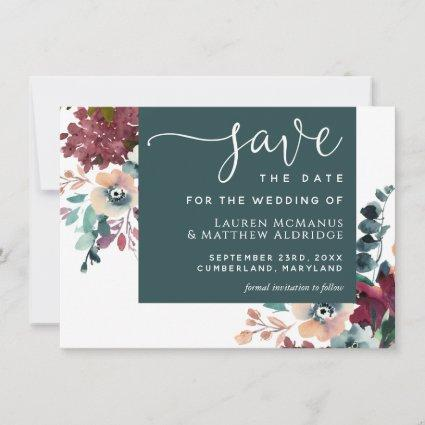Luxurious Teal Burgundy Floral Save the Date