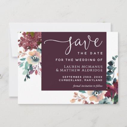 Luxurious Wine Floral Save the Date