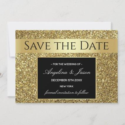 Luxury Elegant Glam Black and Gold Wedding Save The Date