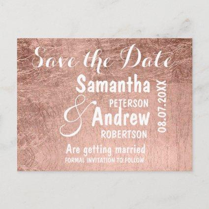 Luxury faux rose gold leaf save the date Announcements Cards