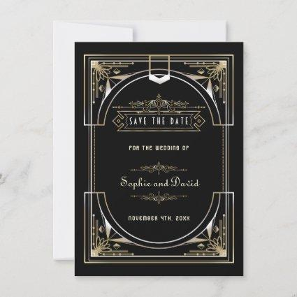 Luxury Gold Black Great 20s Style Wedding Save The Date