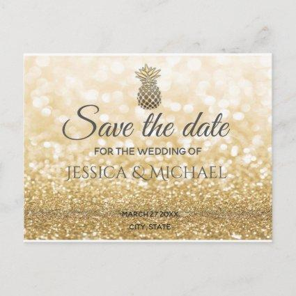 Luxury gold glittery gold pineapple save the date announcement