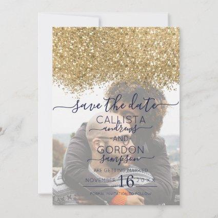 Luxury Gold Navy Glitter Confetti Photo Wedding Save The Date