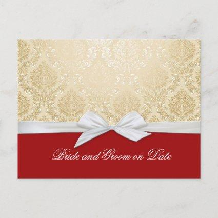 Luxury Ribbon Red Gold Damask Save date card