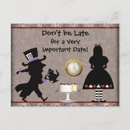 Mad Hatter Tea Party Save the Date Baby Shower Announcement