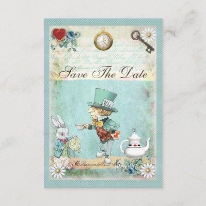 Mad Hatter Wonderland Wedding Save The Date