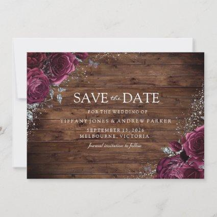 Magical Burgundy Maroon Roses Rustic Wedding Save The Date