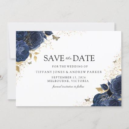 Magical Navy Indigo Roses Gold Floral Wedding Save The Date