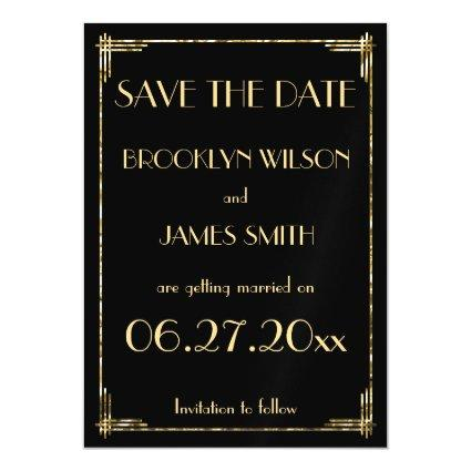 Magnetic Gold Foil Art Deco Wedding Save The Date Magnetic Invitation
