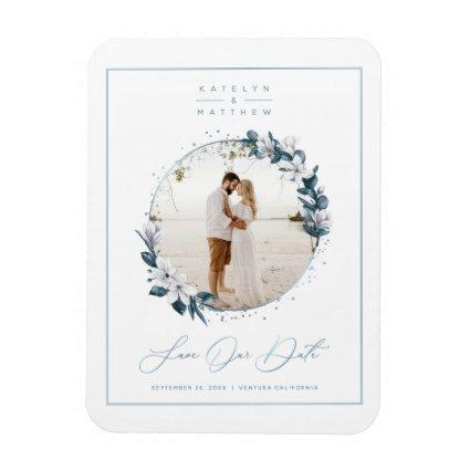 Magnolia & Dusty Blue Circle Photo Save The Date Magnet
