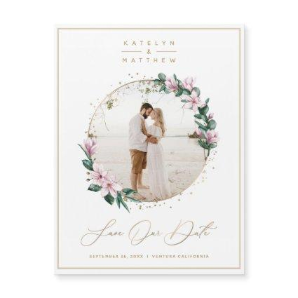Magnolia Floral Gold Circle Photo Save the Date