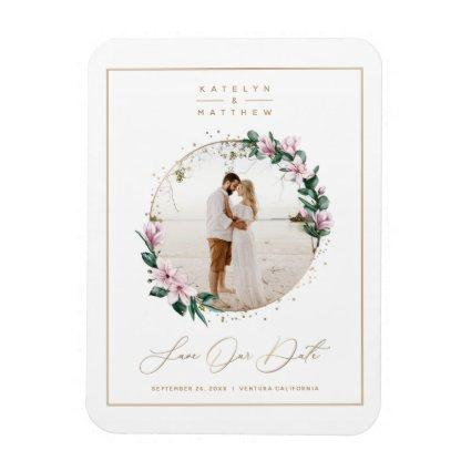 Magnolia Floral Gold Circle Photo Save the Date Magnet