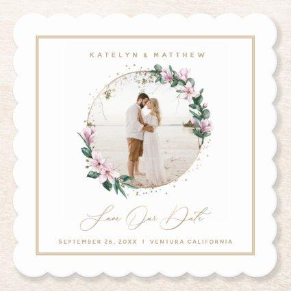 Magnolia Floral Gold Circle Photo Save the Date Paper Coaster