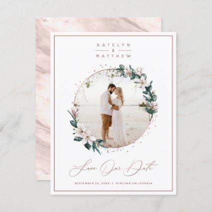 Magnolia Floral & Rose Gold Circle Framed Photo Save The Date