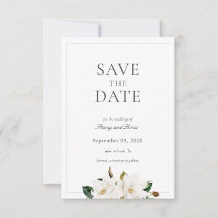 Magnolia Floral Watercolor Save The Date