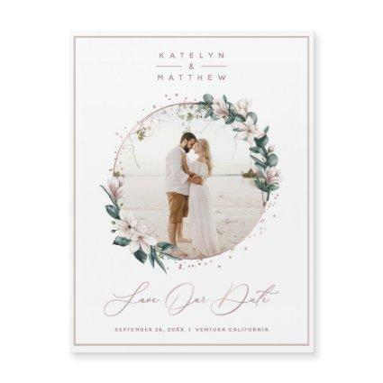 Magnolia & Rose Gold Circle Photo Save The Date