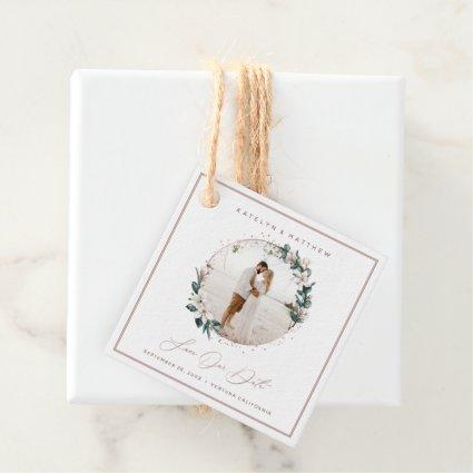 Magnolia & Rose Gold Circle Photo Save The Date Favor Tags