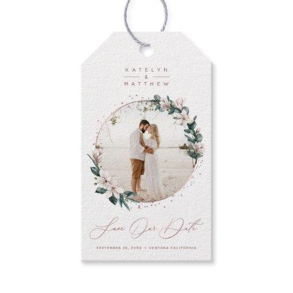 Magnolia & Rose Gold Circle Photo Save The Date Gift Tags