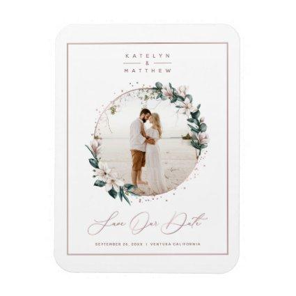 Magnolia & Rose Gold Circle Photo Save The Date Magnet
