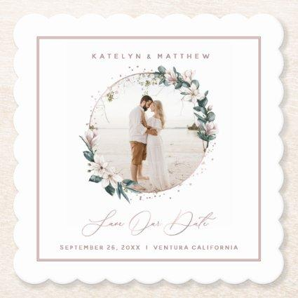 Magnolia & Rose Gold Circle Photo Save The Date Paper Coaster